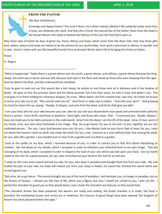 Saint patrick church letters from the pastor april 1 2018 altavistaventures Gallery