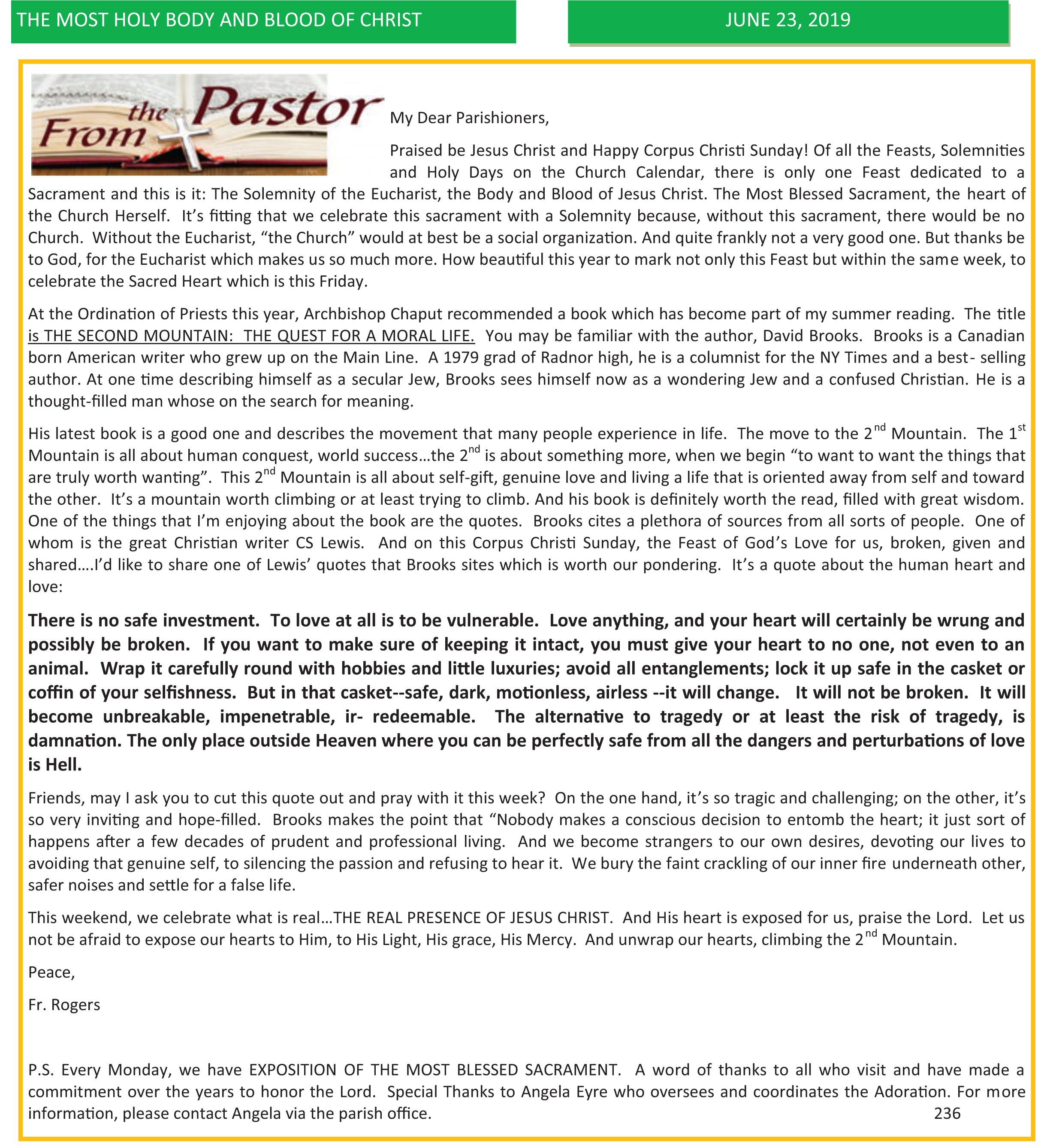Saint Patrick Church | Letters from the Pastor
